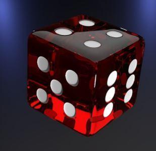 roter Würfel auf dunklem Hintergrund